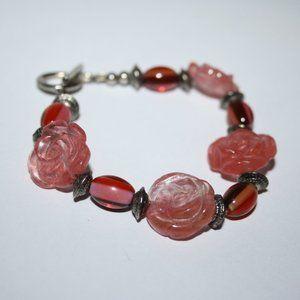 Beautiful silver glass and stone flower bracelet 8